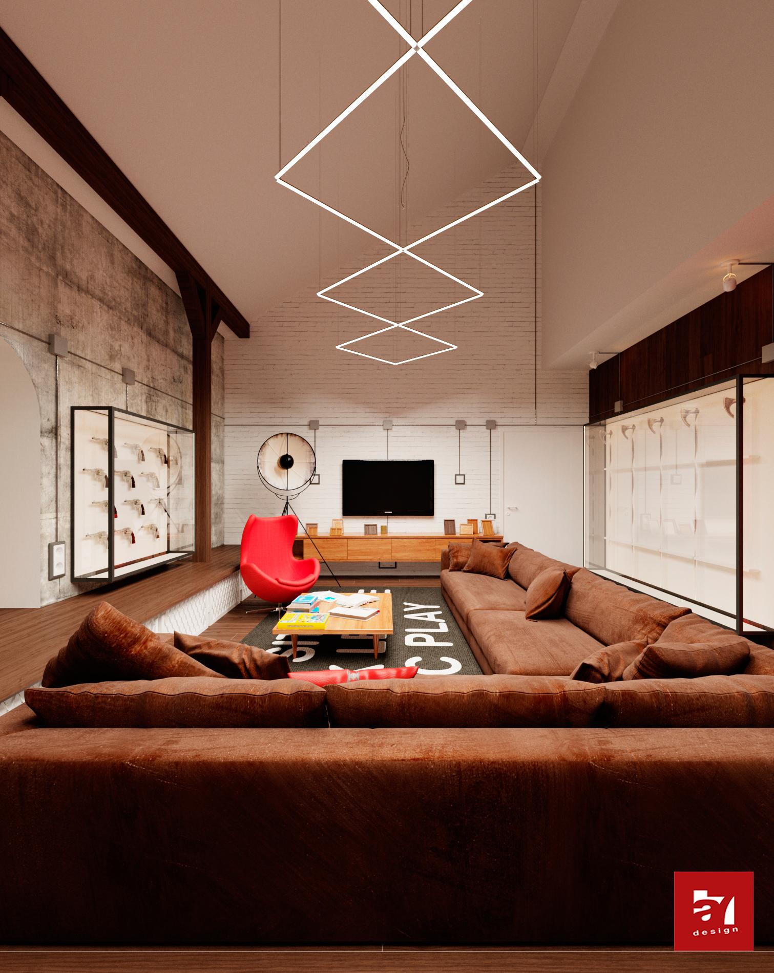 Дизайн интерьера оружейной комнаты