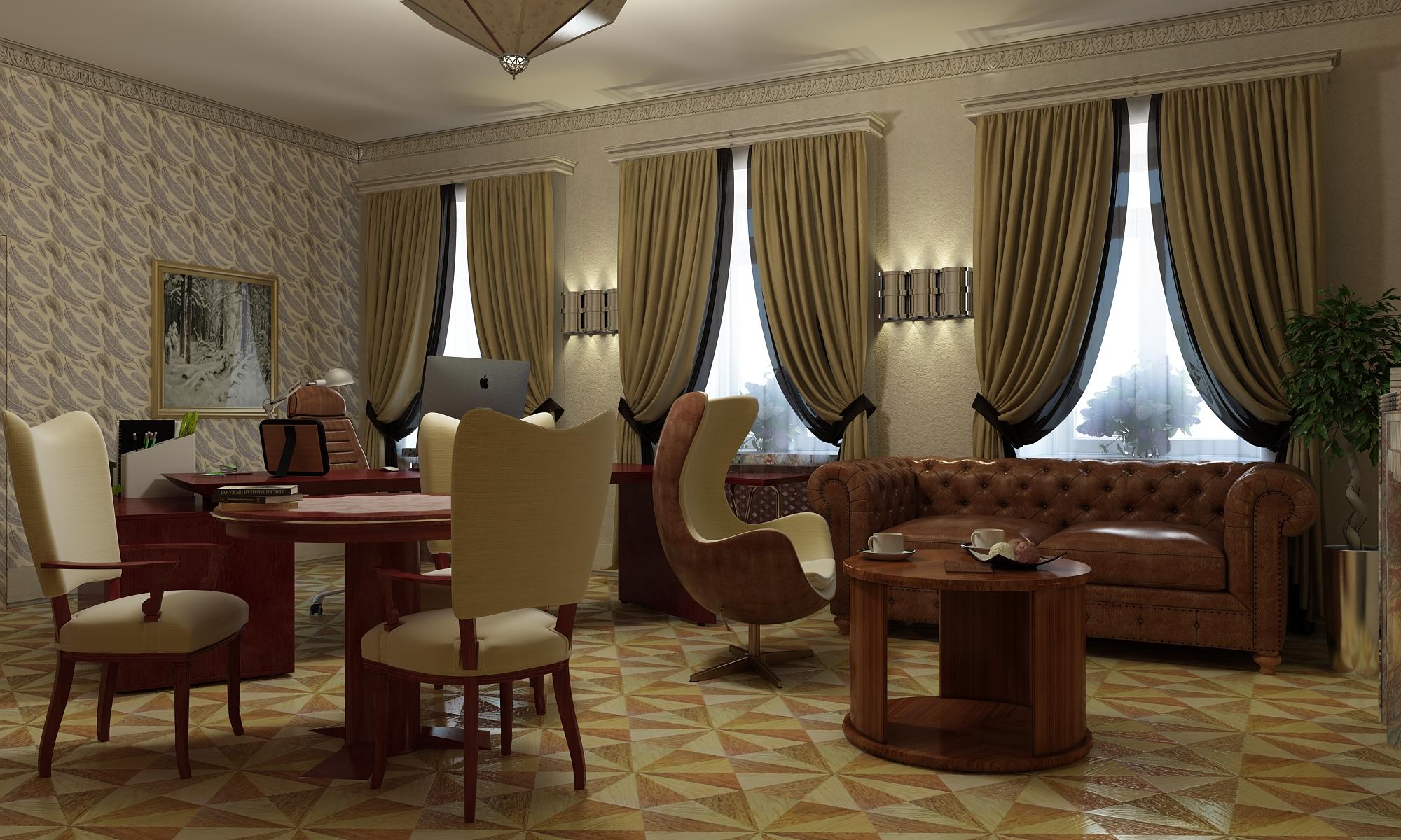 Дизайн интерьера кабинета в стиле арт-деко