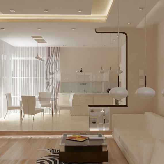 Дизайн интерьера апартаментов в бежевых тонах