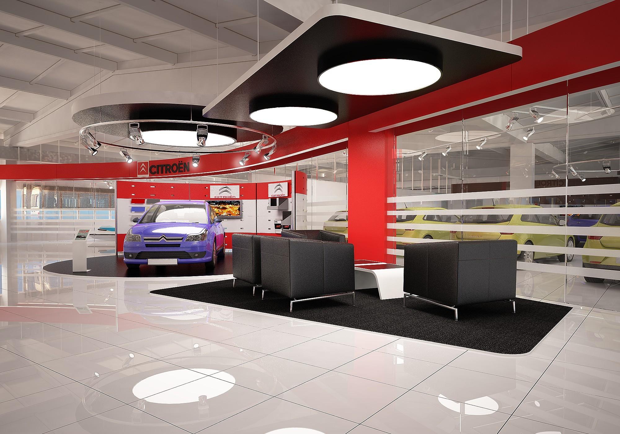 Интерьер автосалона станции техобслуживания Citroën