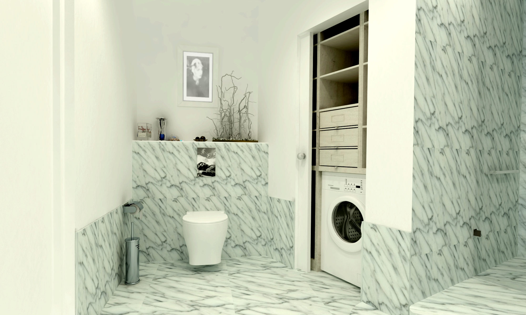 Дизайн санузла в мраморе каррара бьянко