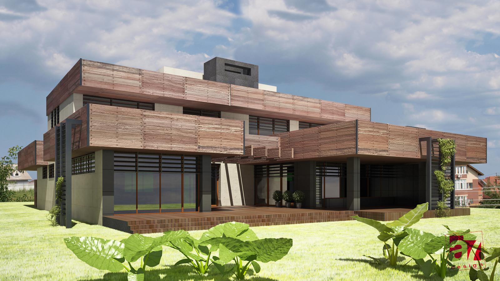 Дизайн фасадов коттеджа в поселке Гатное
